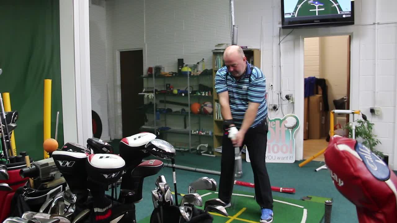 Nick Swinging On Golf Lesson